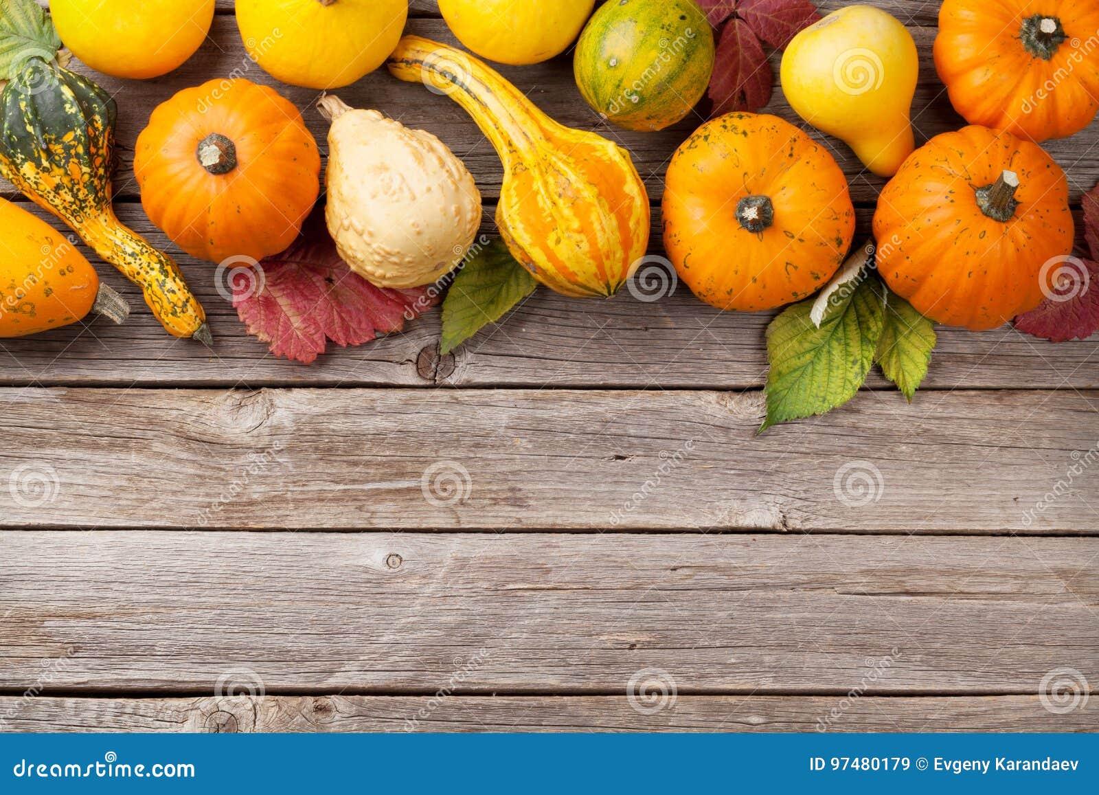 Zucche di autunno sulla tavola di legno