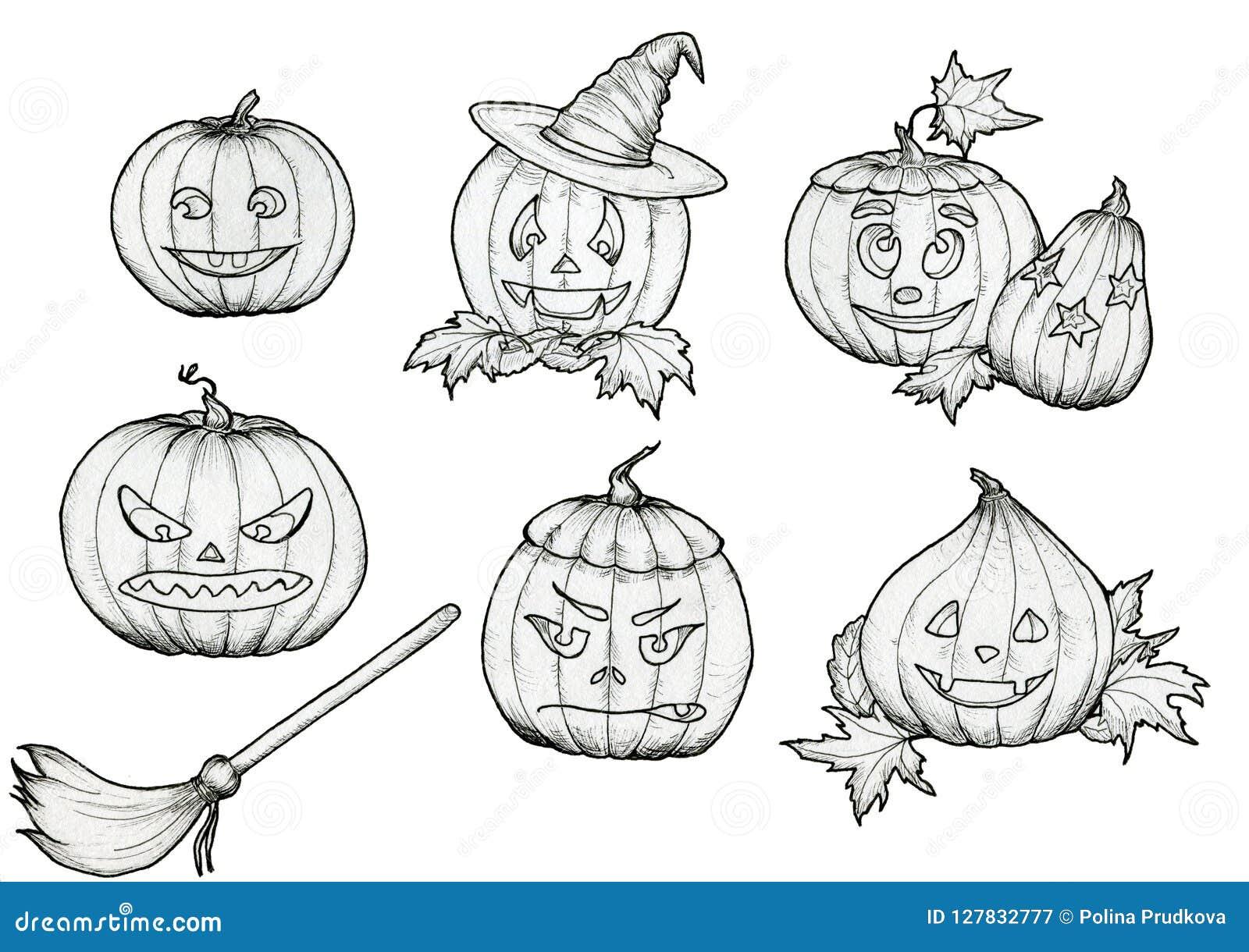 Insieme in bianco e nero delle zucche strappantesi fatte a mano di Halloween  con il cappello ccd0435e4044