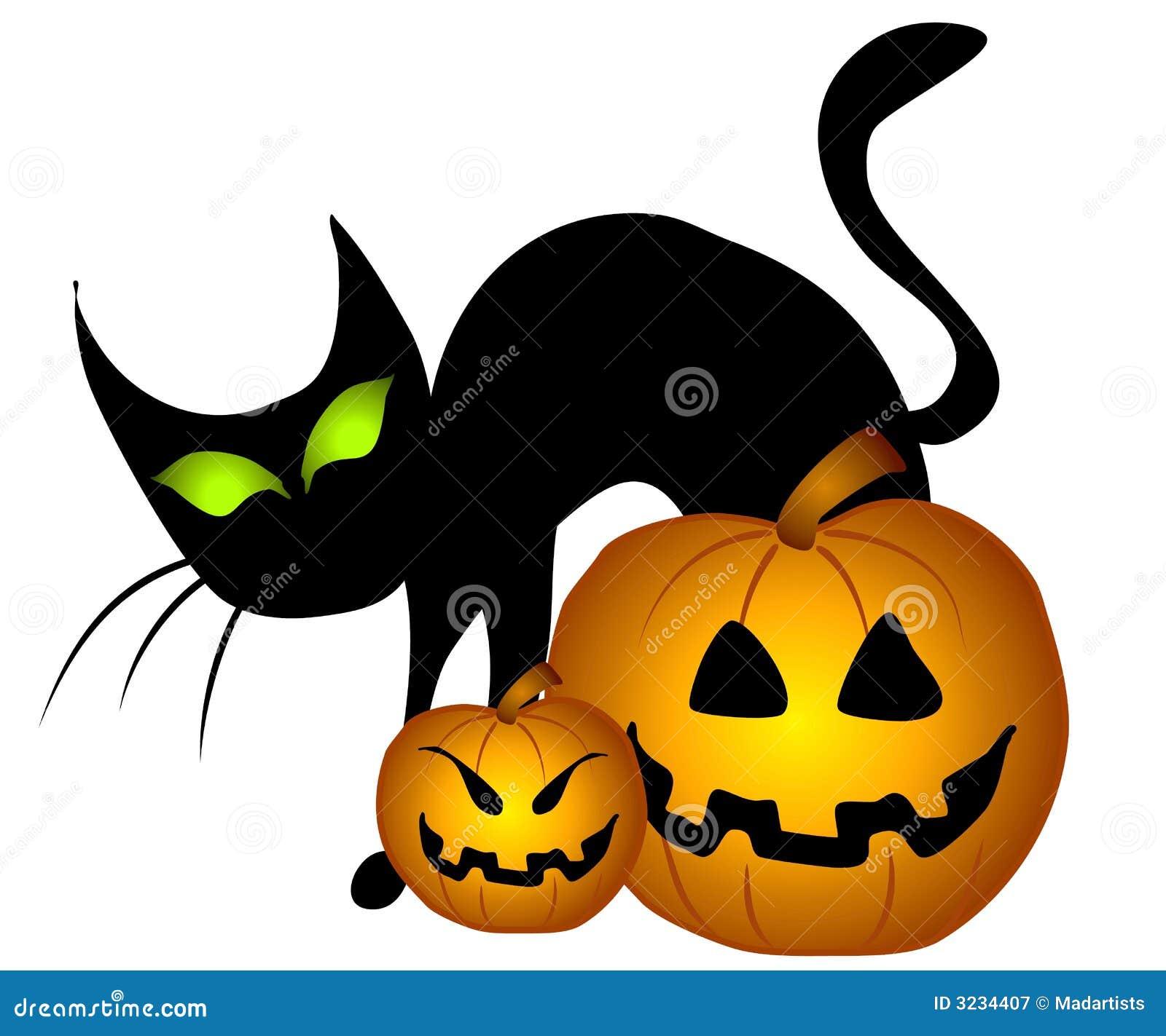 Zucche di halloween del gatto nero illustrazione di stock for Gatto clipart