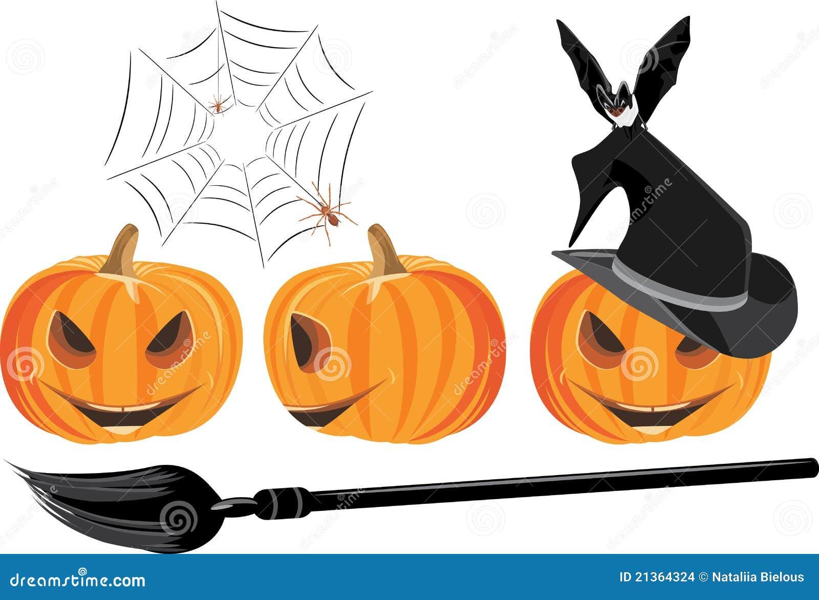 Zucche di halloween isolate sul bianco immagini stock for Immagini zucche halloween