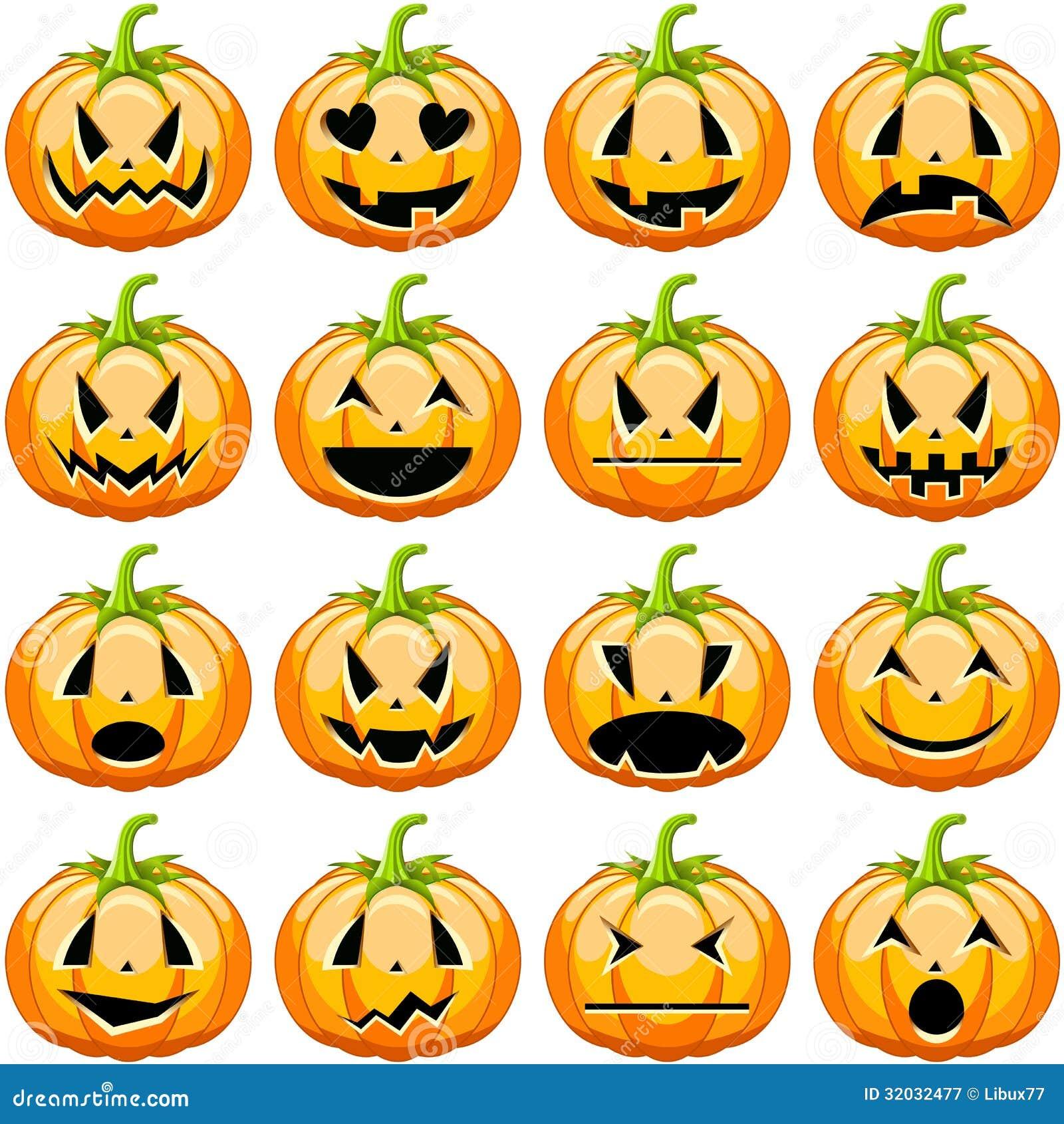 Zucche di halloween messe fotografia stock libera da for Foto zucche halloween