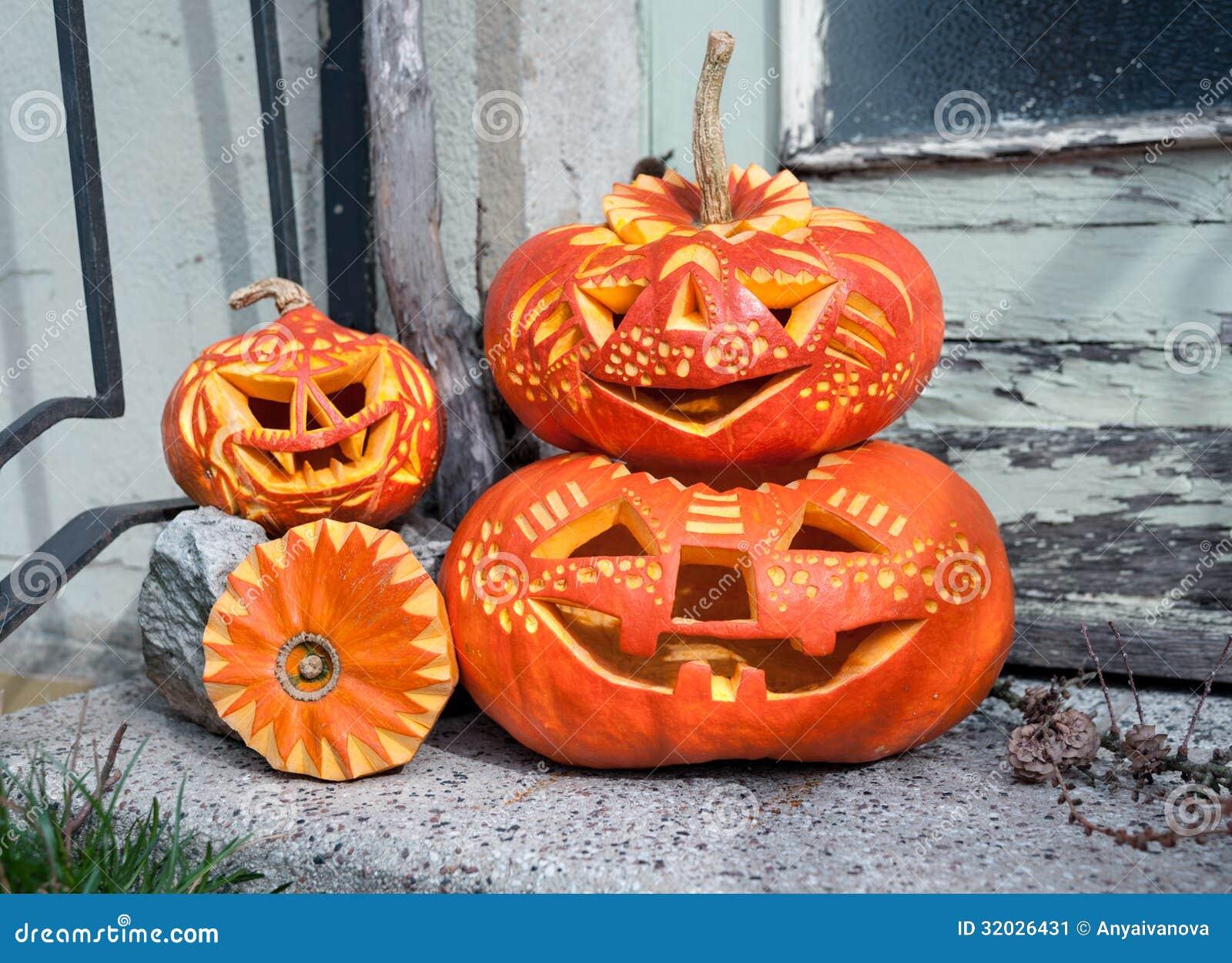 zucche scolpite di halloween immagine stock immagine