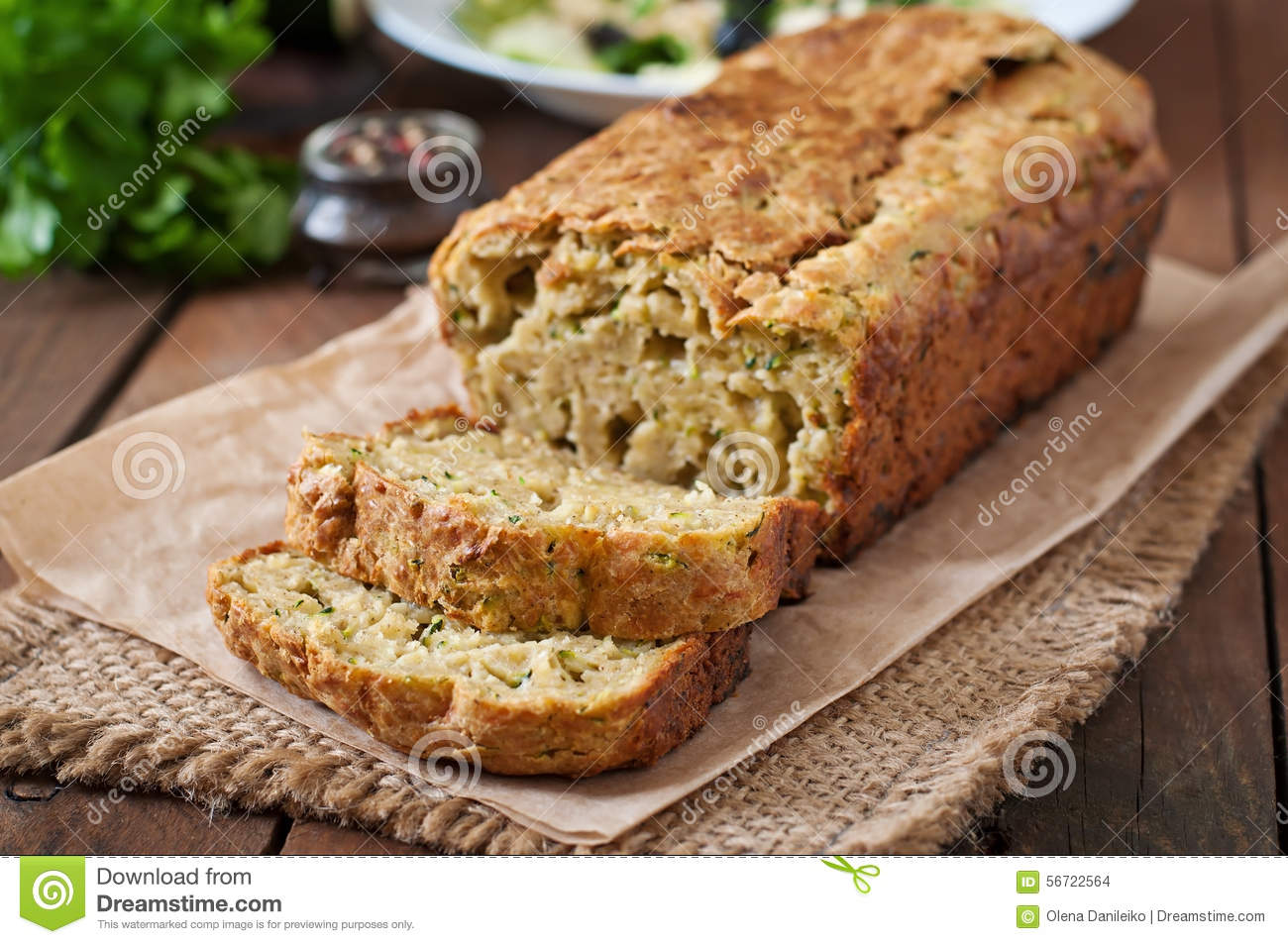 Zucchini bread with cheese
