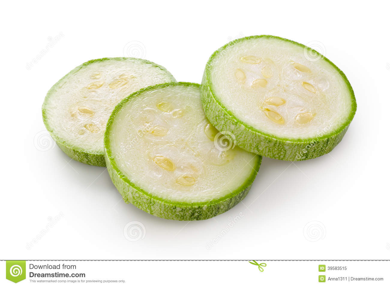 Zucchini. Sliced Green Courgette On White Background Stock ...