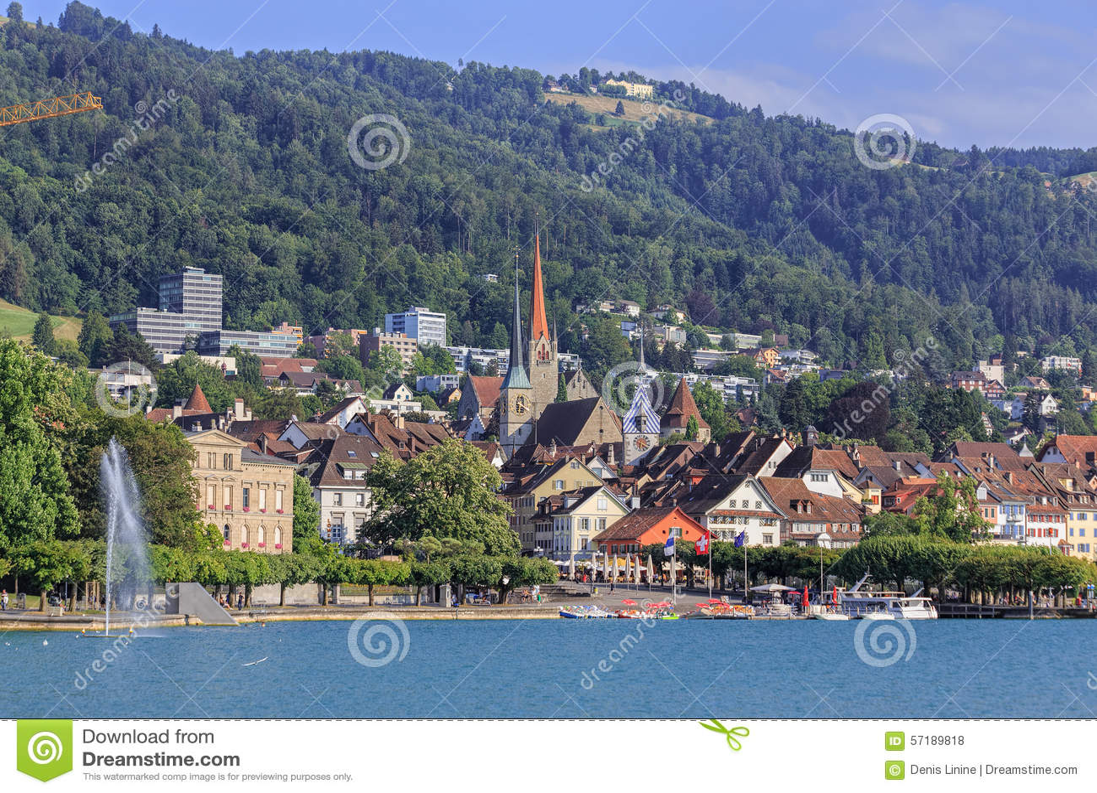 Zug cityscape editorial stock photo. Image of cityscape - 57189818