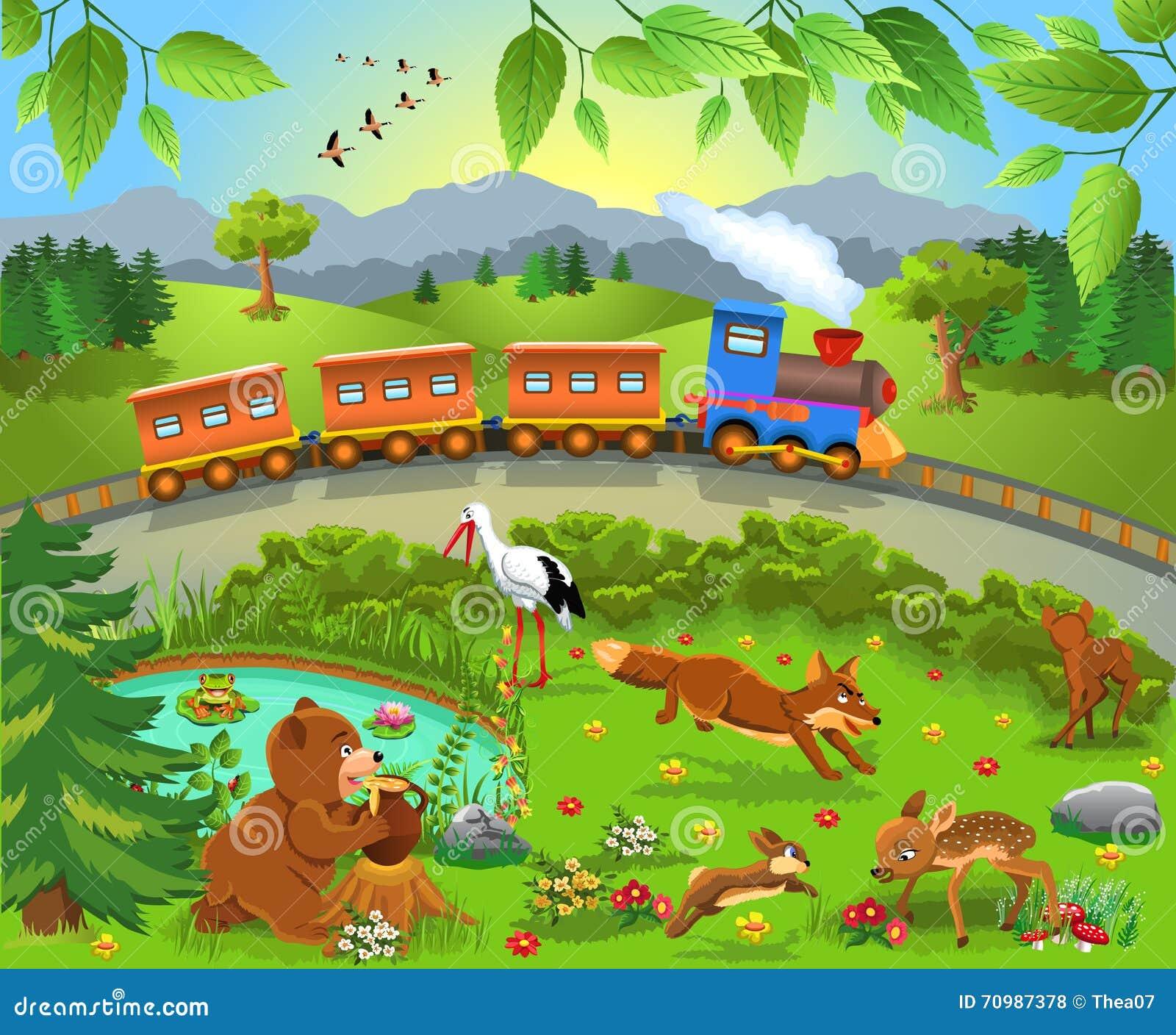 Zug, der durch wilde Tiere überschreitet