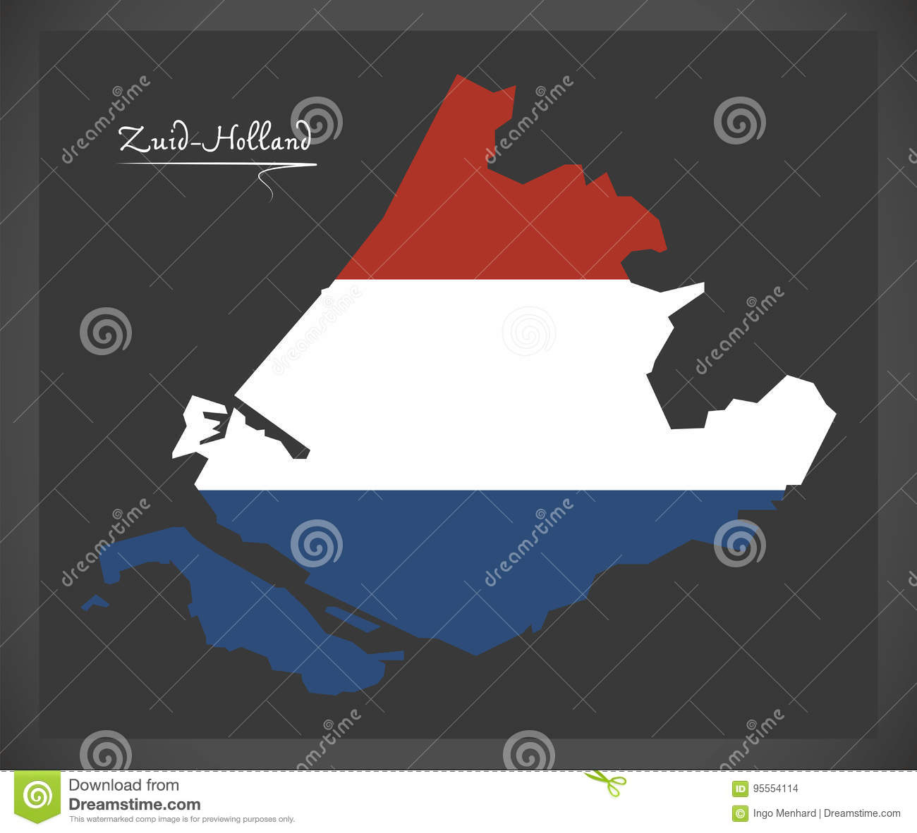 Zuid holland netherlands map with dutch national flag stock vector download comp gumiabroncs Image collections