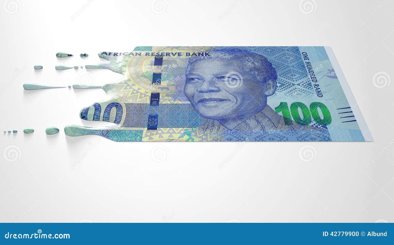 Zuidafrikaans Rand Melting Dripping Banknote