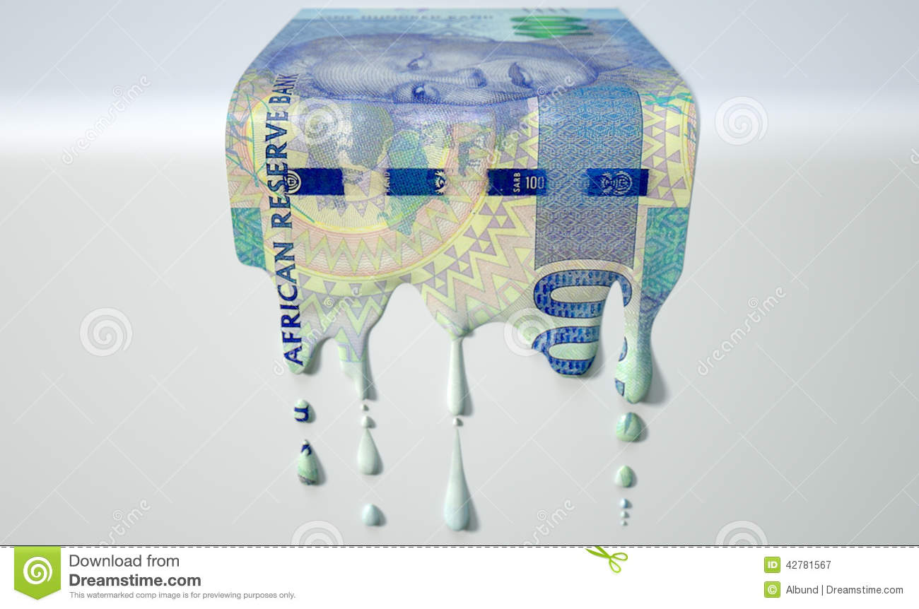 Zuidafrikaans Rand Melting Dripping Banknote