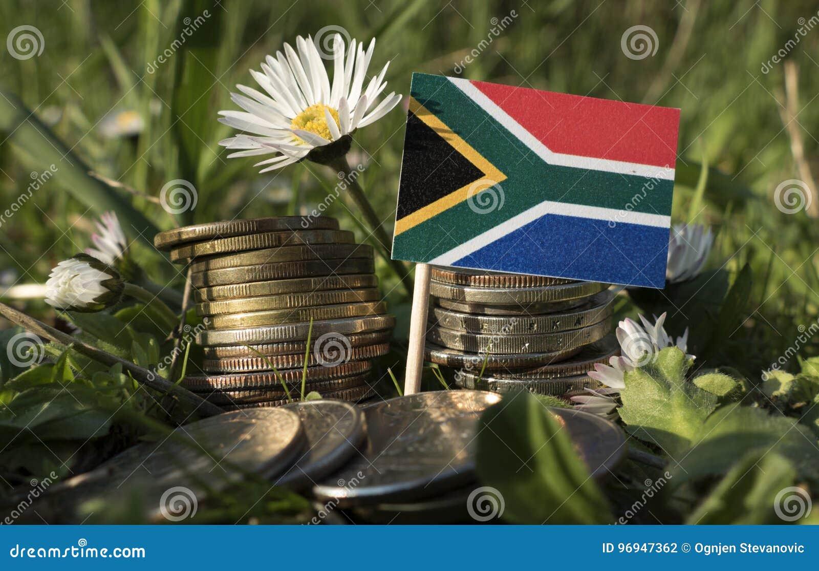 Zuidafrikaanse vlag met stapel geldmuntstukken met gras