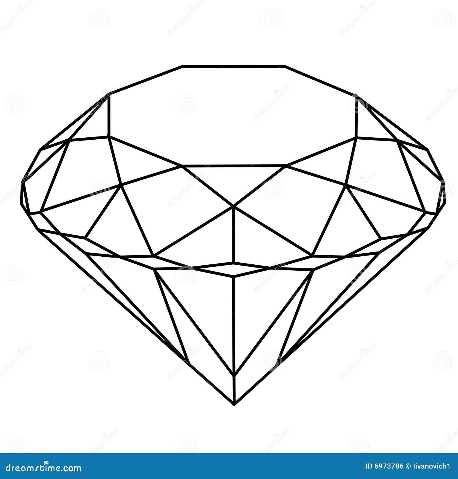 Line Drawing Diamond : Zuivere diamant stock illustratie bestaande