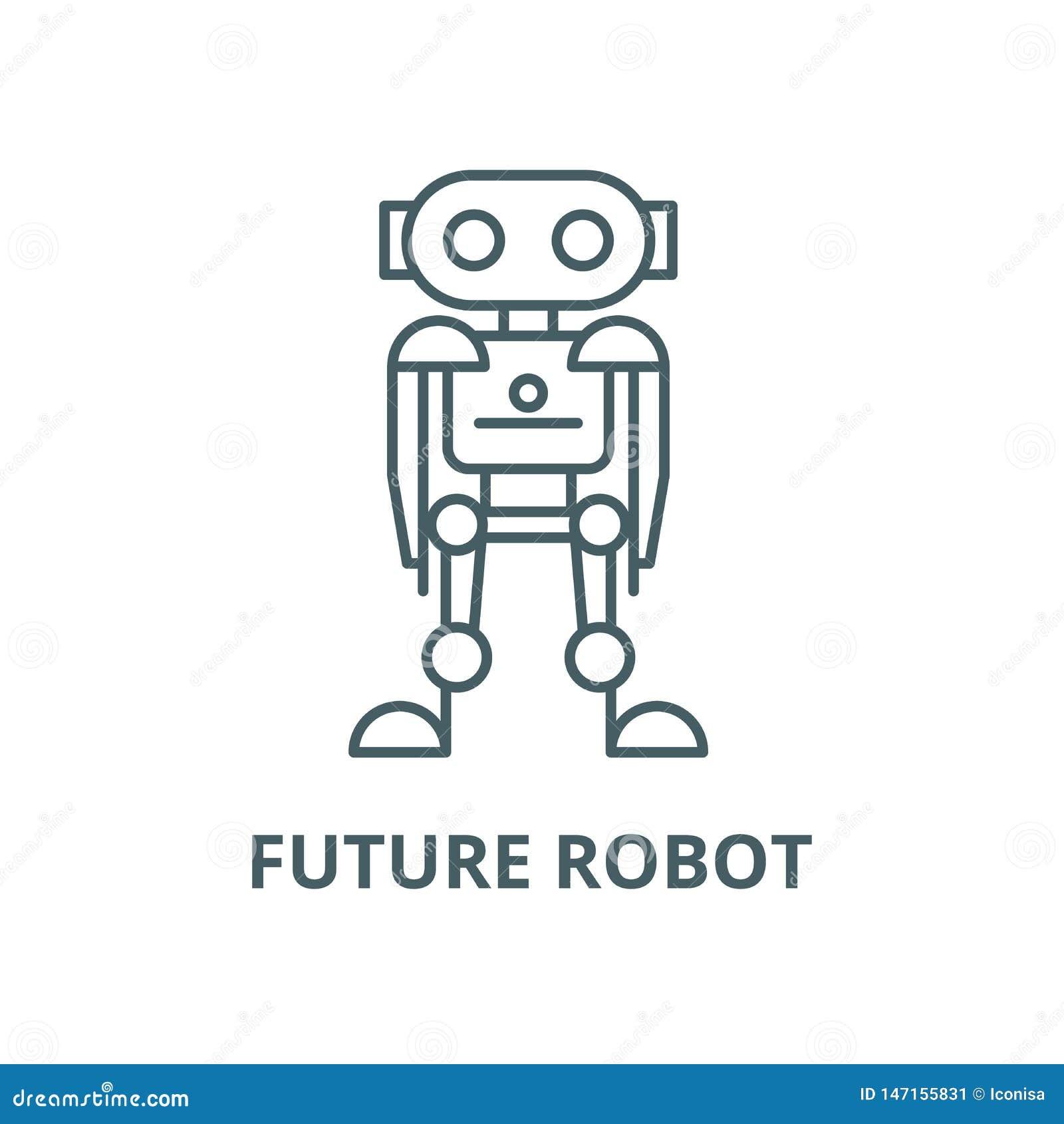 Zukünftige Robotervektorlinie Ikone, lineares Konzept, Entwurfszeichen, Symbol