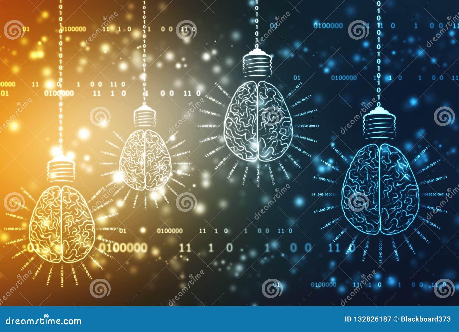 Zukünftige Technologie der Birne mit Gehirn, Innovationshintergrund, künstliche Intelligenz-Konzept