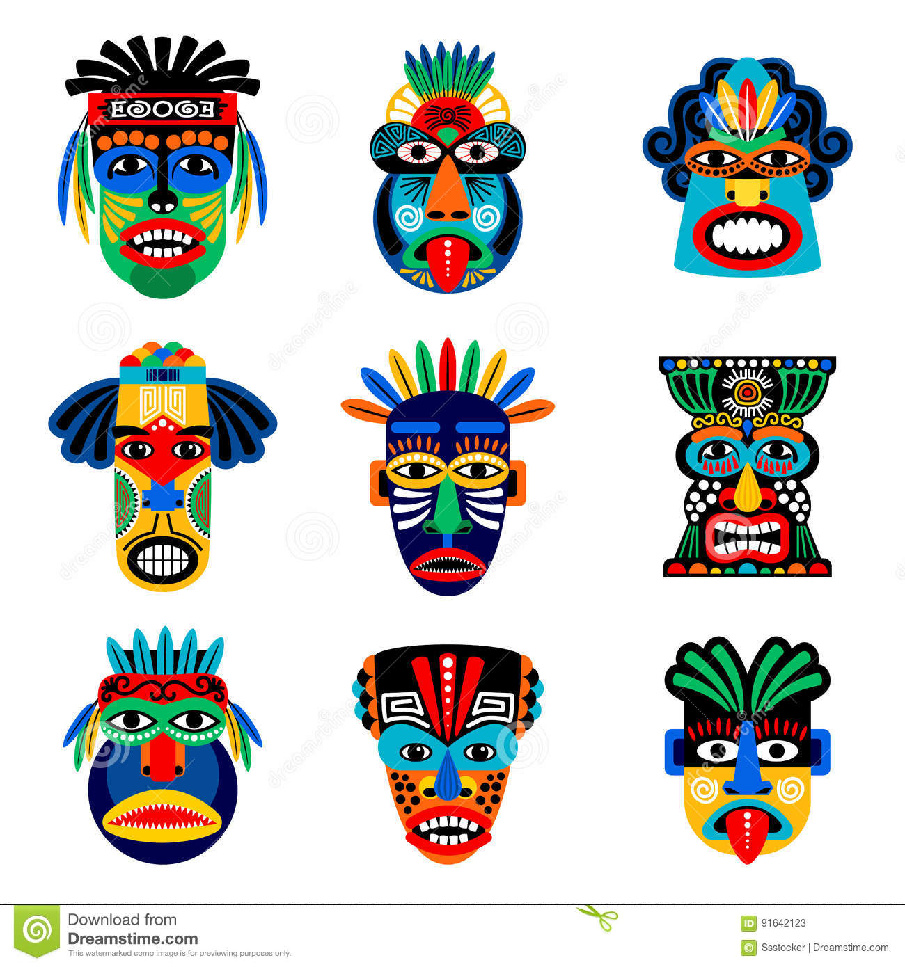 zulu or aztec mask icons stock vector illustration of head 91642123