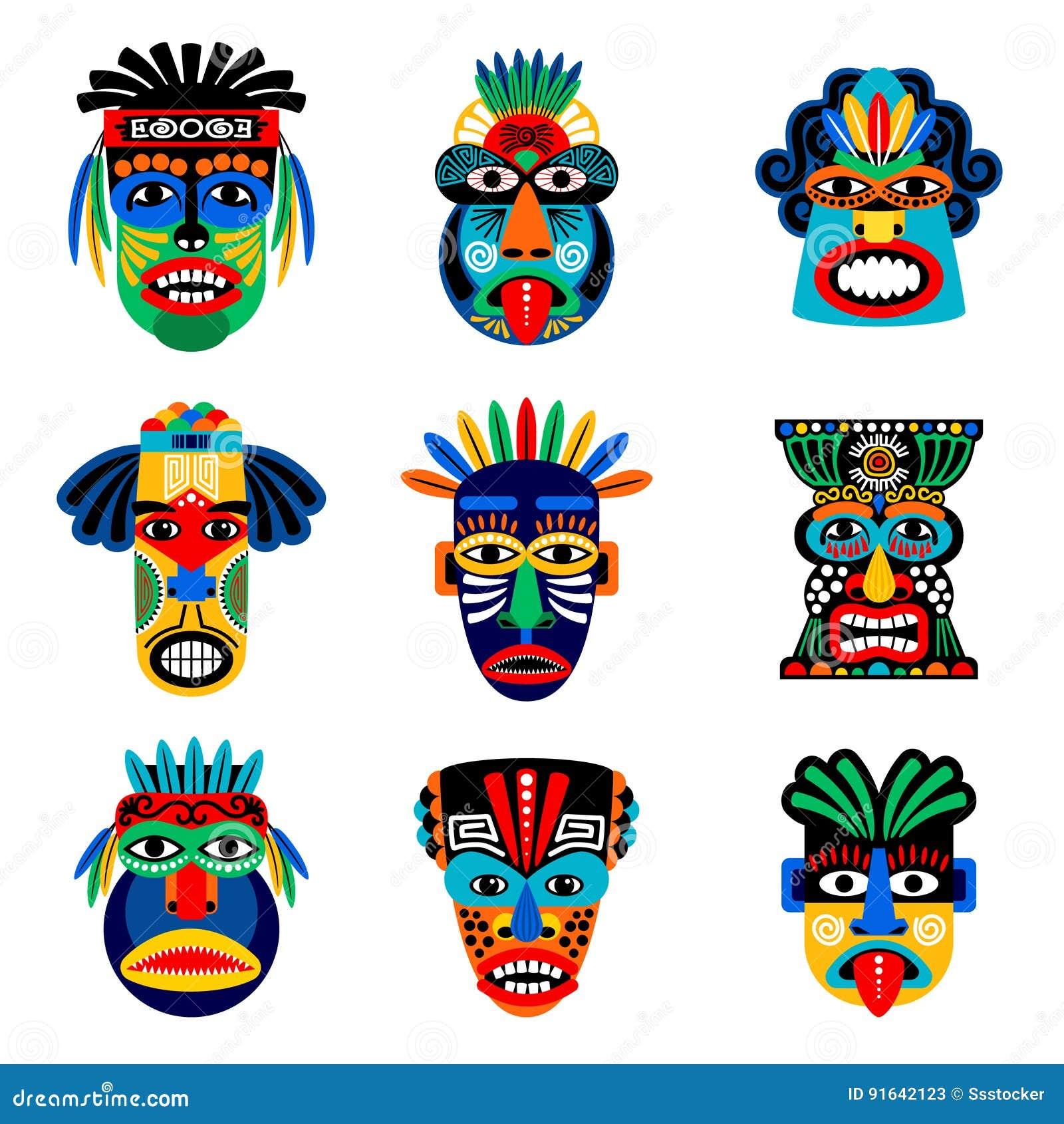 Zulu lub aztec maskowe ikony