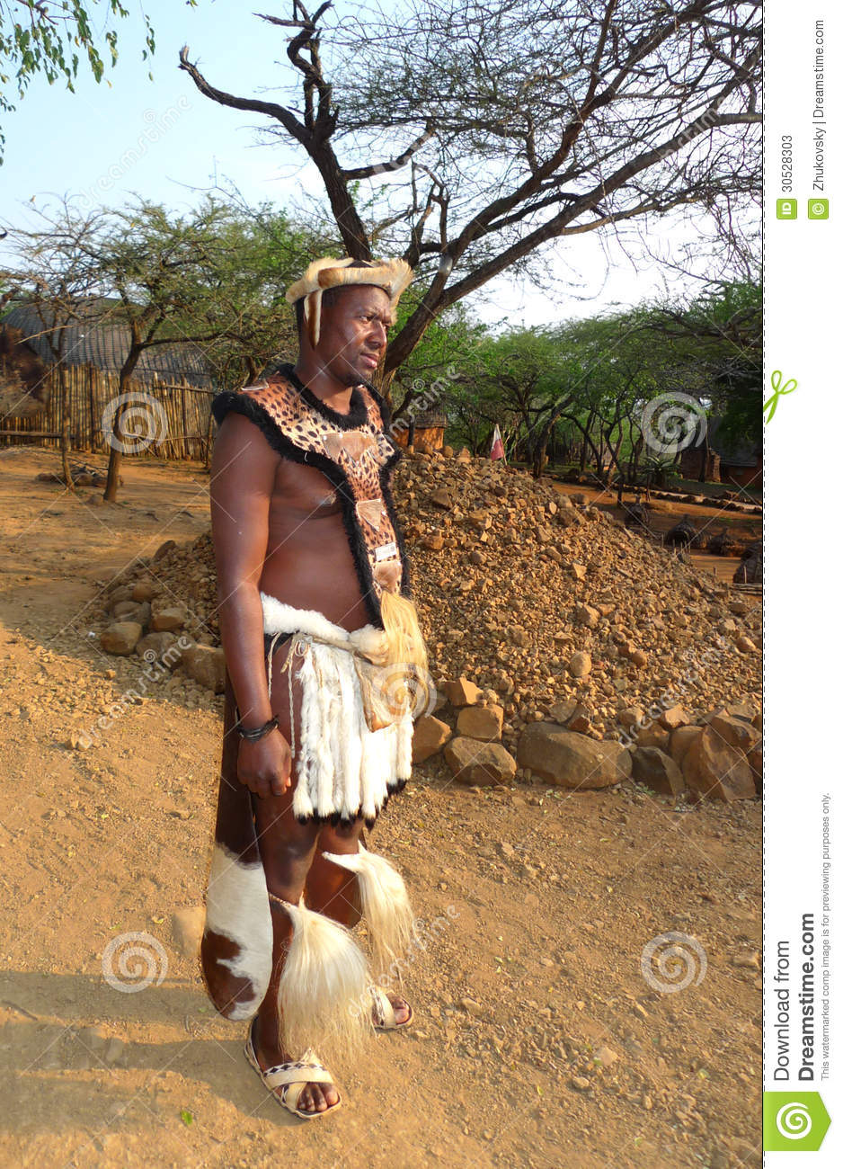 Zulu Shakaland Zulu warrior at the Great Kraal in Shakaland Zulu Village, Soth Africa