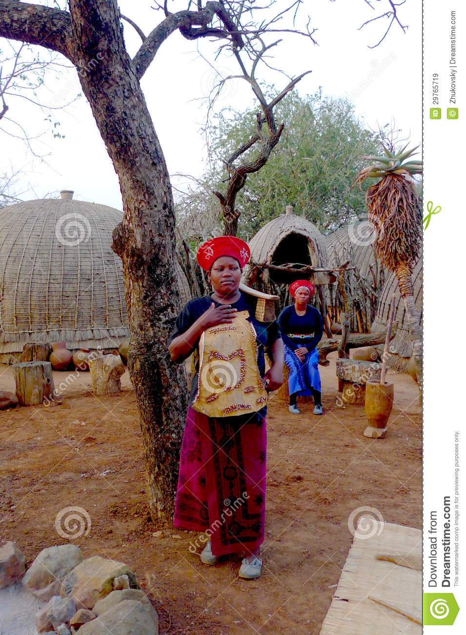 Zulu Shakaland Zulu woman in traditional closes in Shakaland Zulu Village, South Africa