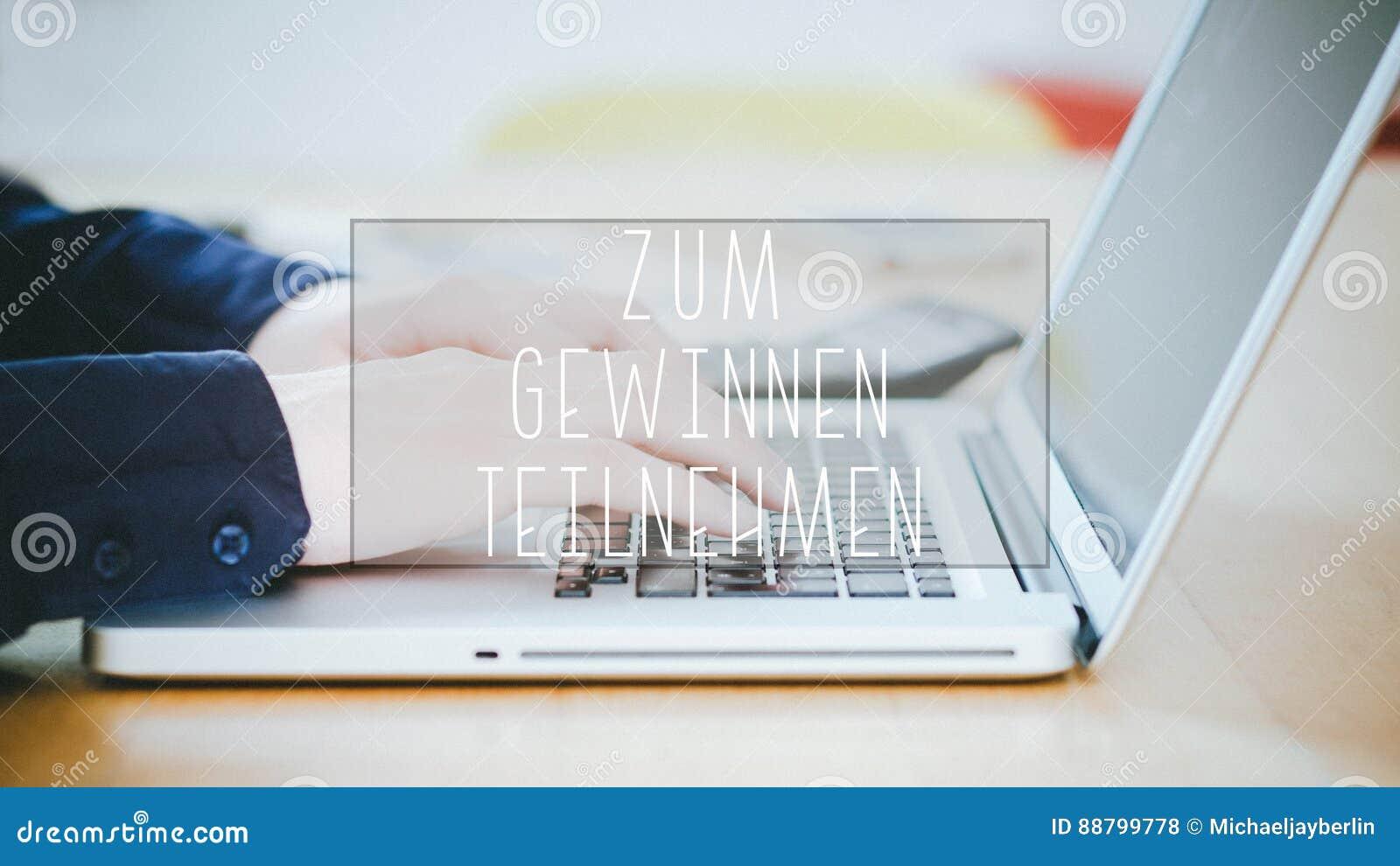 Zum Gewinnen teilnehmen, tysk text för att Enter över ska segra text