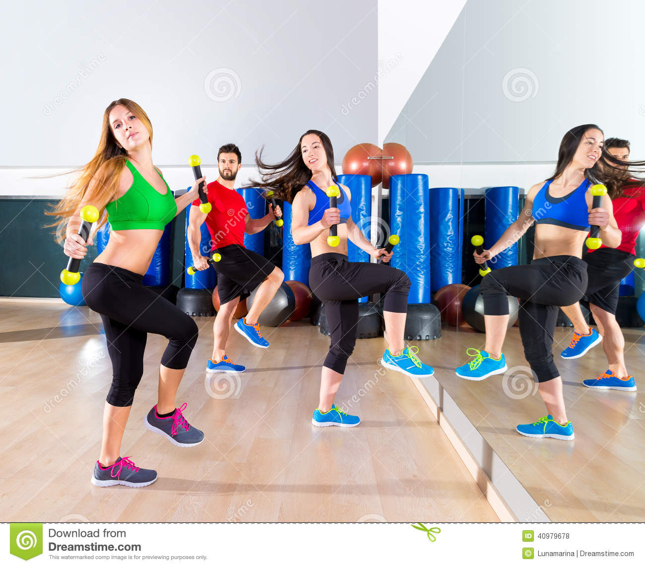Workout Photography: Zumba Dance Cardio People Group At Fitness Gym Stock Photo
