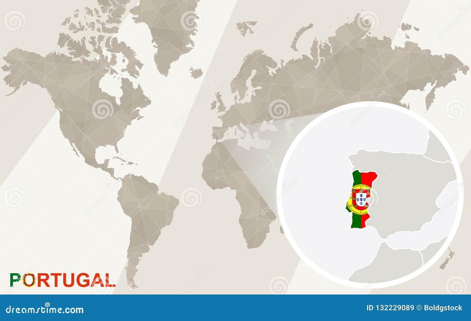 Zumbido No Mapa E Na Bandeira De Portugal Mapa De Mundo Ilustracao