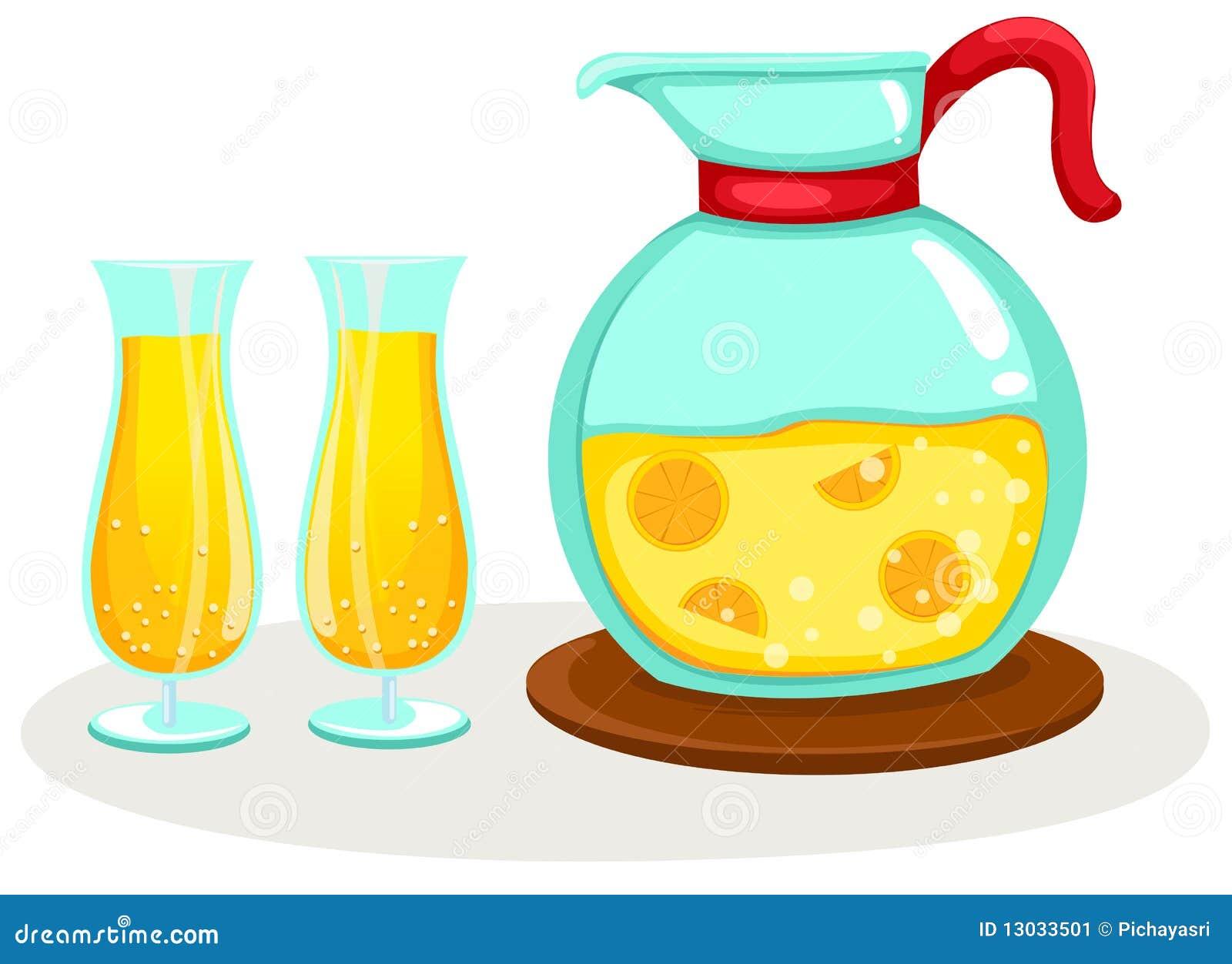 Zumo de naranja en un jarro y vidrios