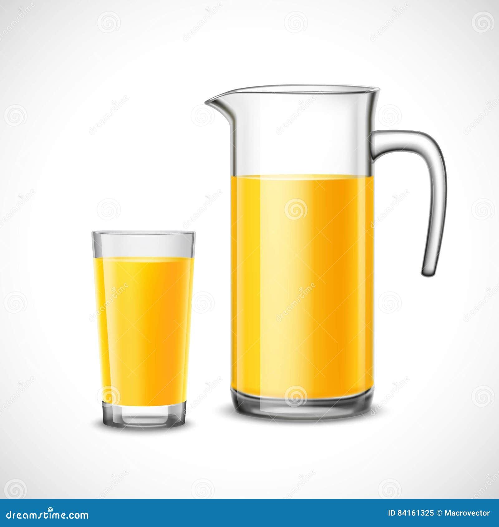 Zumo de naranja en vidrio y jarro