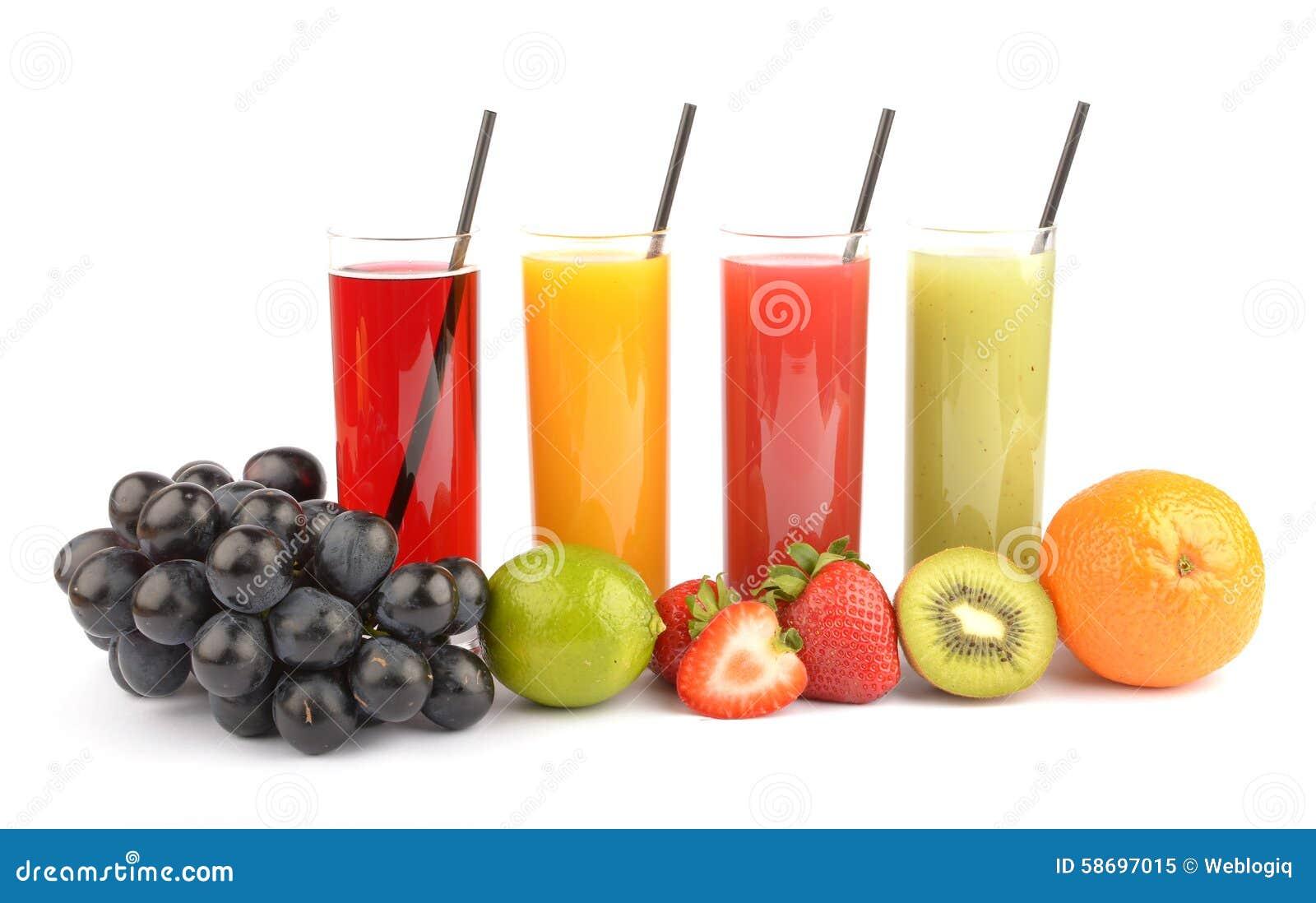 Zumos de fruta fresca en blanco