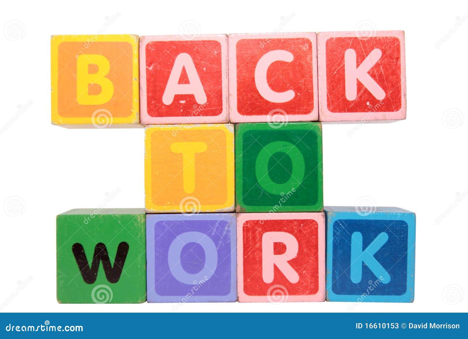 Zurück zu Arbeit in den SpielzeugBlockschrift