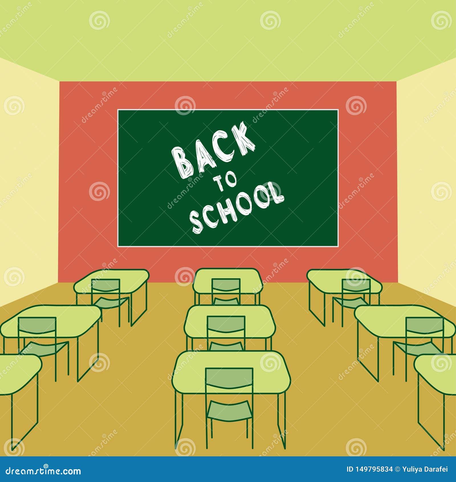 Zurück zu Malkreide des Schultextes in Tafel Klassenzimmer Innen mit Schulbanken und Stühlen