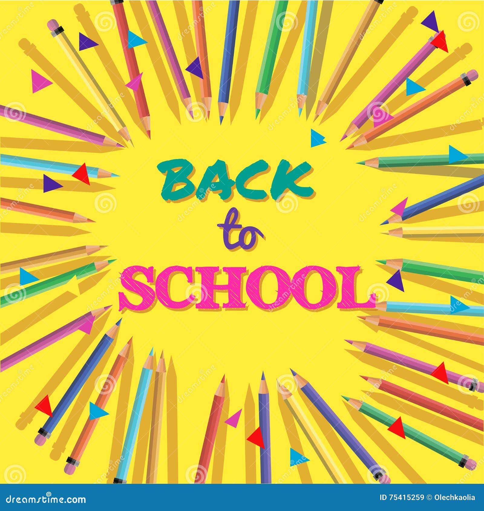 Zurück Zu Schule Hintergrund Mit Bunten Bleistiften Mit Titel ...