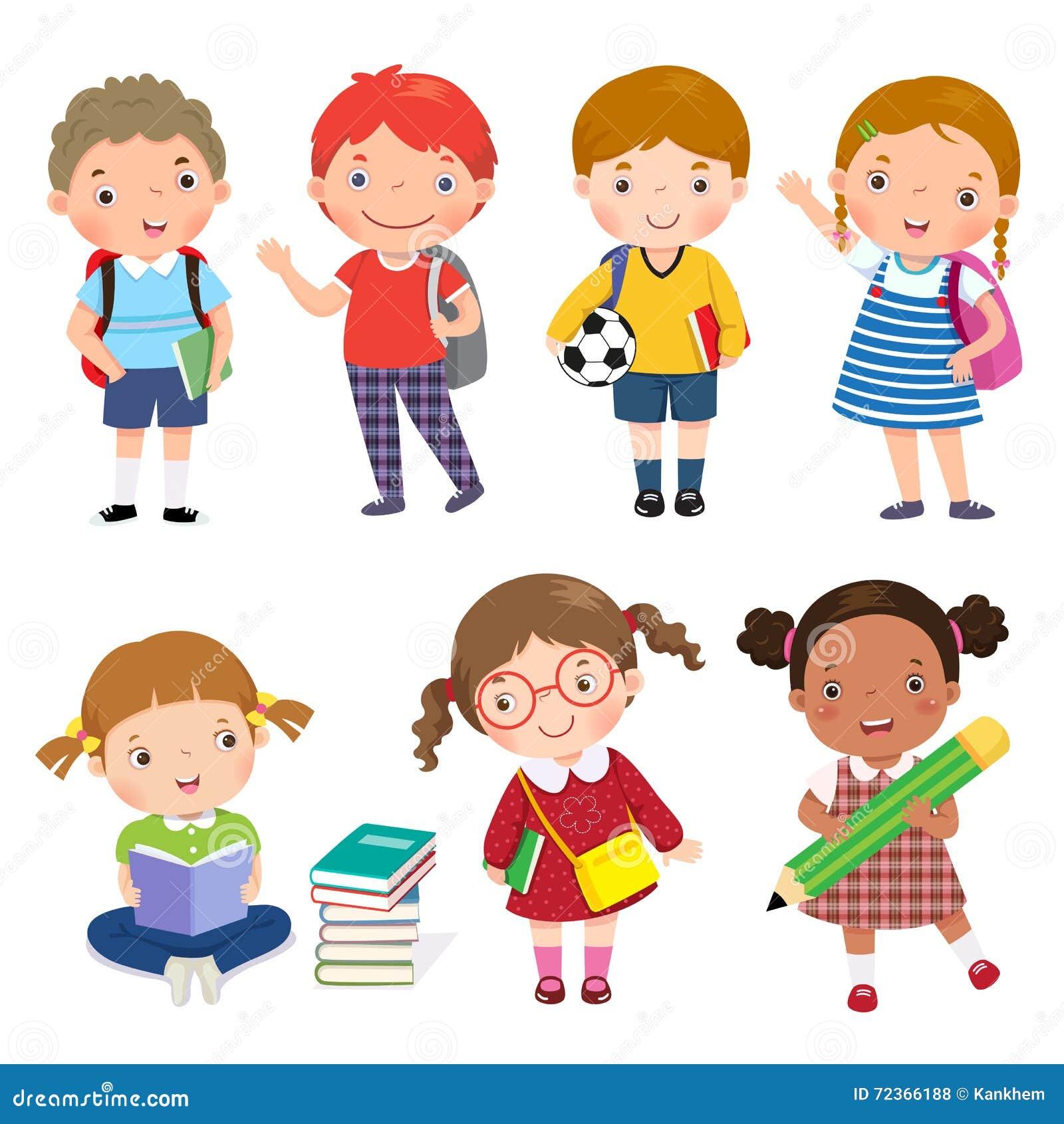 Zurück zu Schule Satz Schulkinder im Bildungskonzept