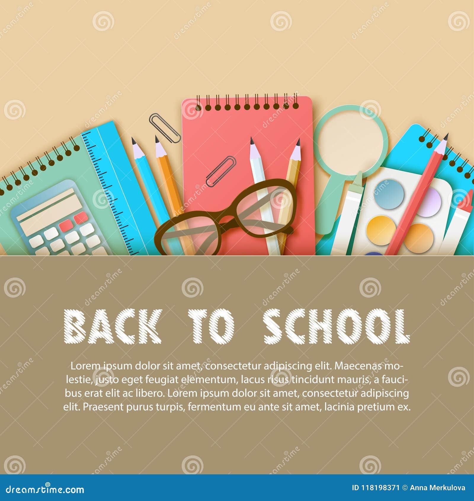 Zurück zu Schulzeitungskunsthintergrund mit Notizbuch, Bleistift, Machthaber