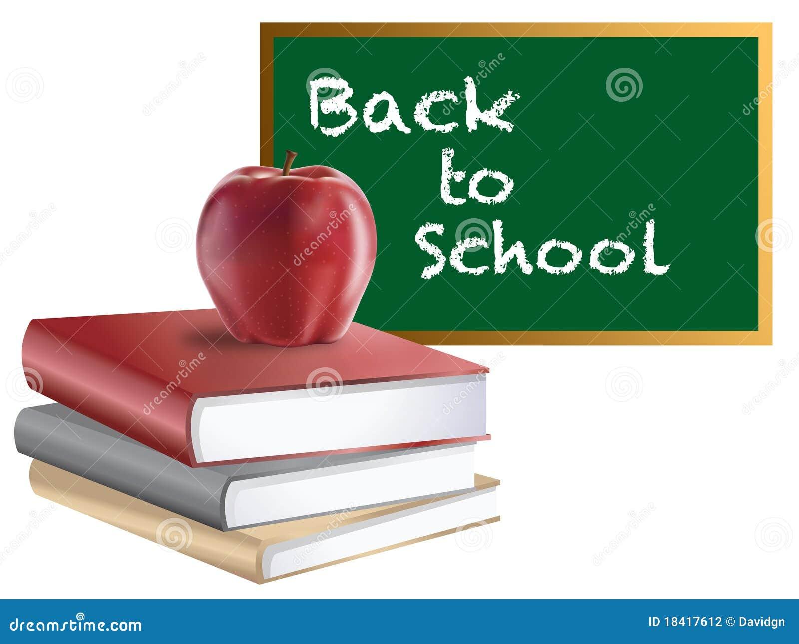 Zur u00fcck Zu Schule Tafel B u00fcchern Und Apple Stockfotografie   Bild  18417612