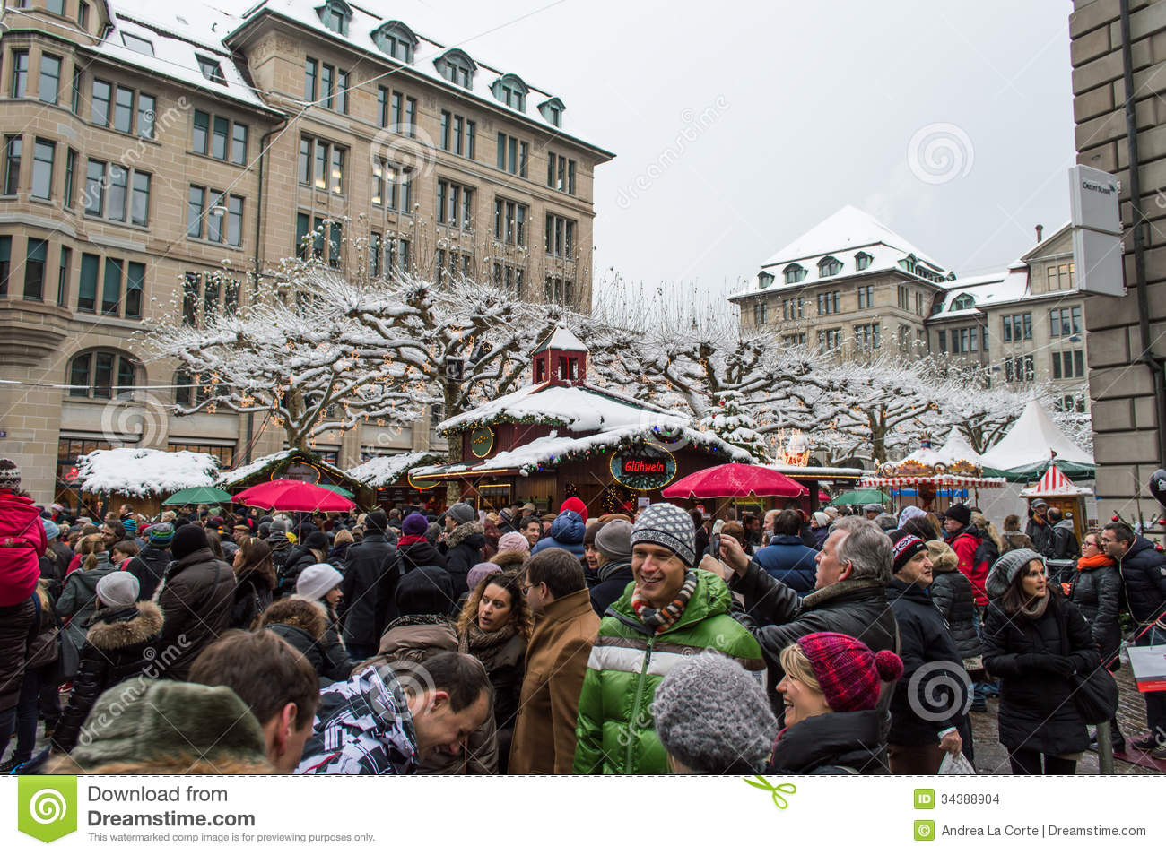 Zurich Christmas Market editorial stock image. Image of blue - 34388904