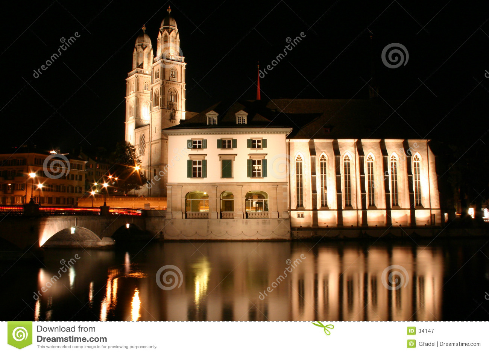 Download Zurich en la noche imagen de archivo. Imagen de zurich, suiza - 34147