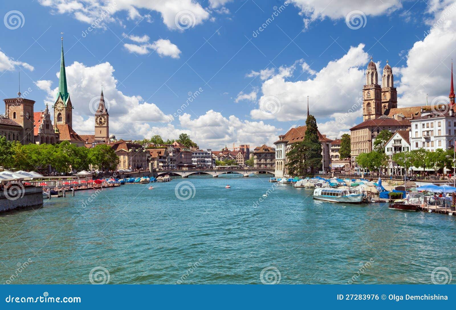 Zurich and river Limmat, Switzerland