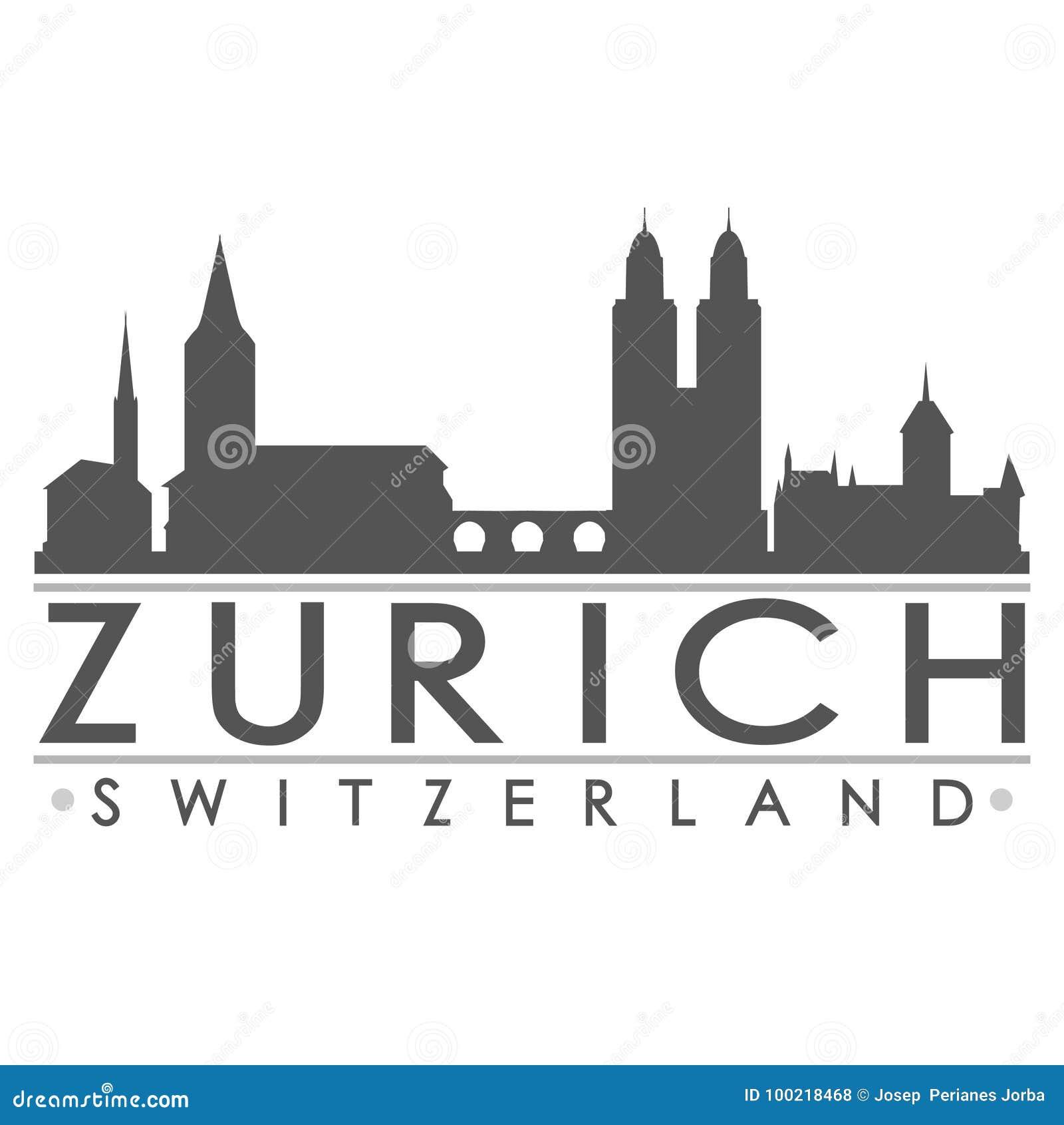 Zurich Silhouette Design City Vector Art Stock Vector