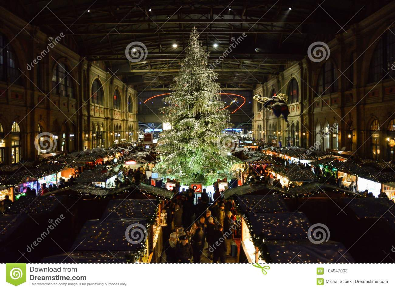Traditional Christmas Tree On Christmas Market On Zurich Main Tr ...