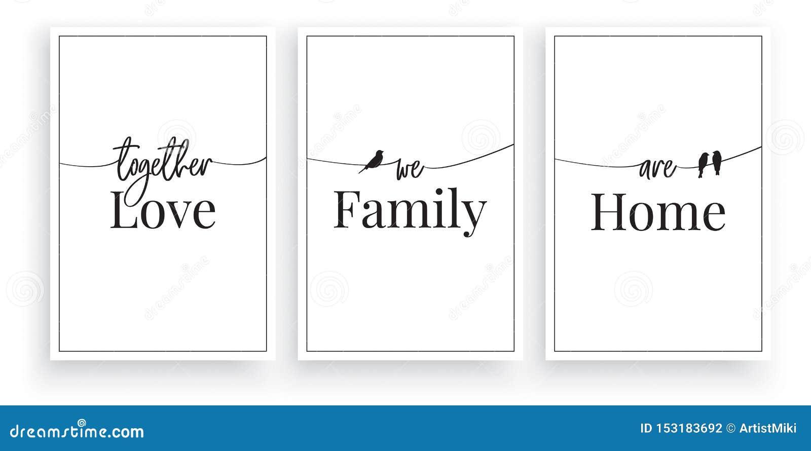 Zusammen sind wir Liebe, Familie, Haus, Vektor, Benennungsentwurf, Beschriftung, unbedeutender Plakatentwurf, drei Stücke Plakate