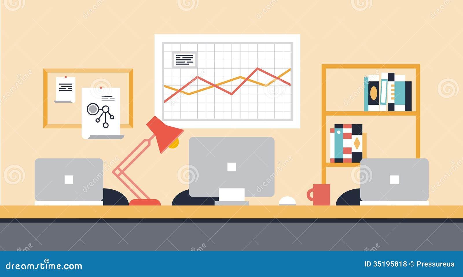 Zusammenarbeitsarbeitsplatz-Büroillustration