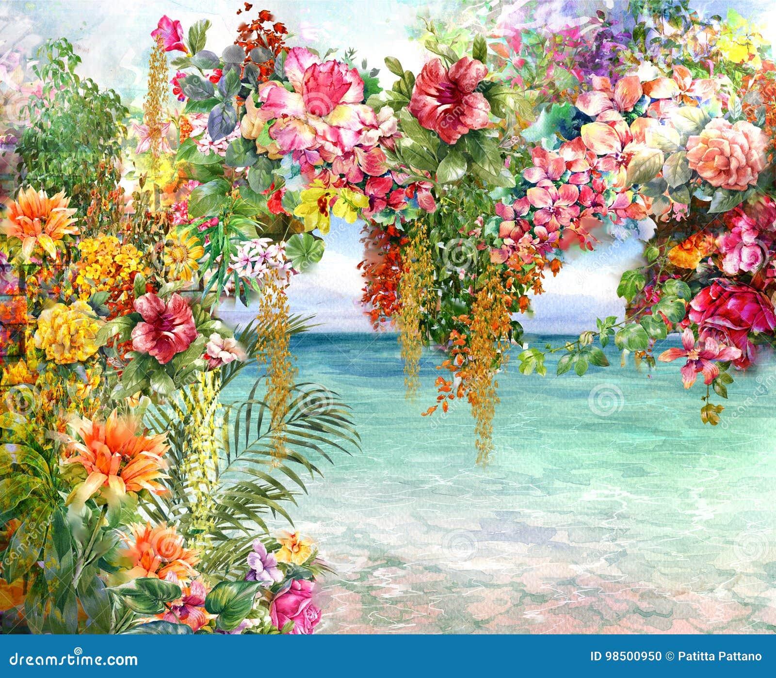 Zusammenfassung blüht Aquarellmalerei Frühling mehrfarbig nahe dem Meer