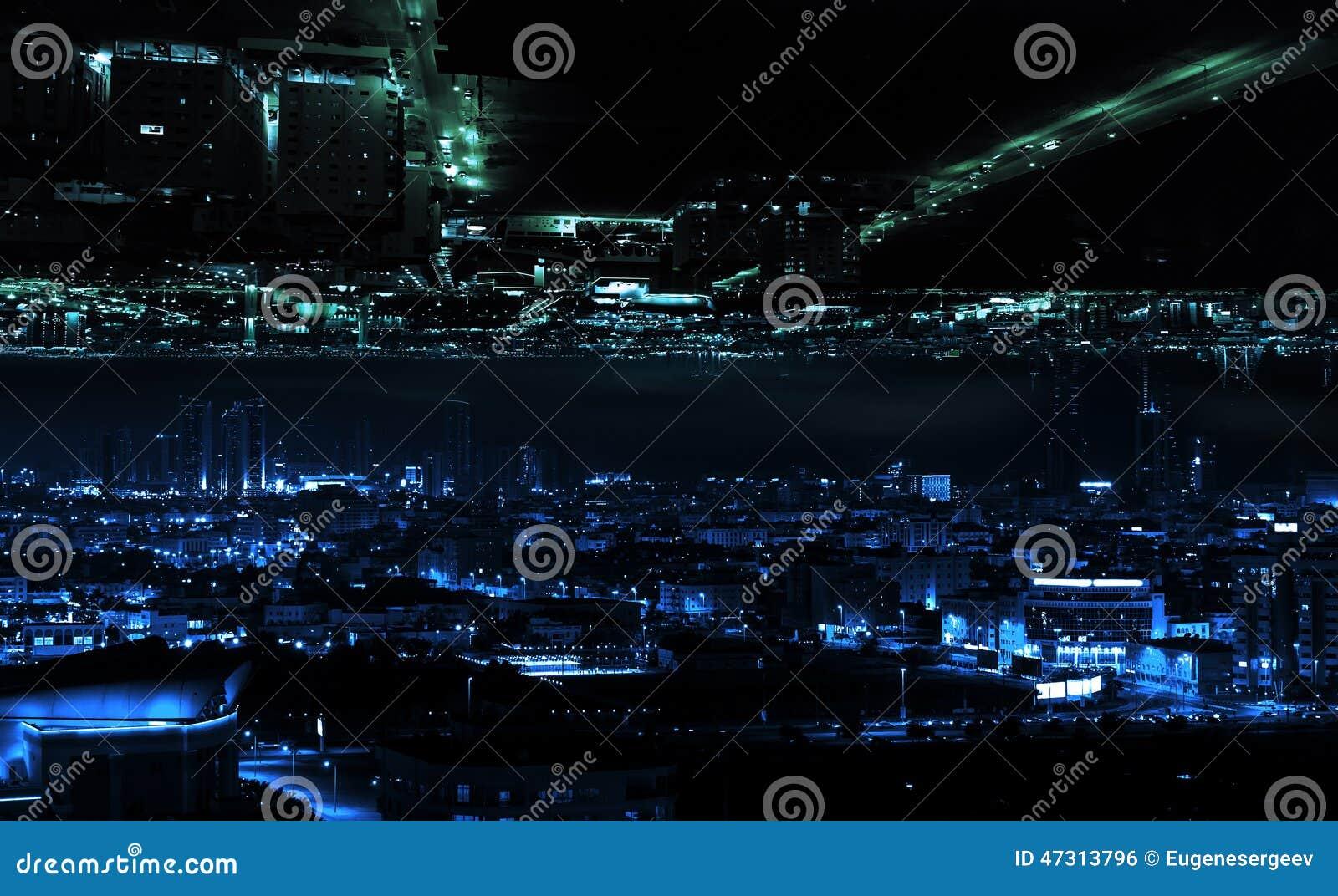 Zusammenfassung illuminted modernes Nachtstadtkonzept