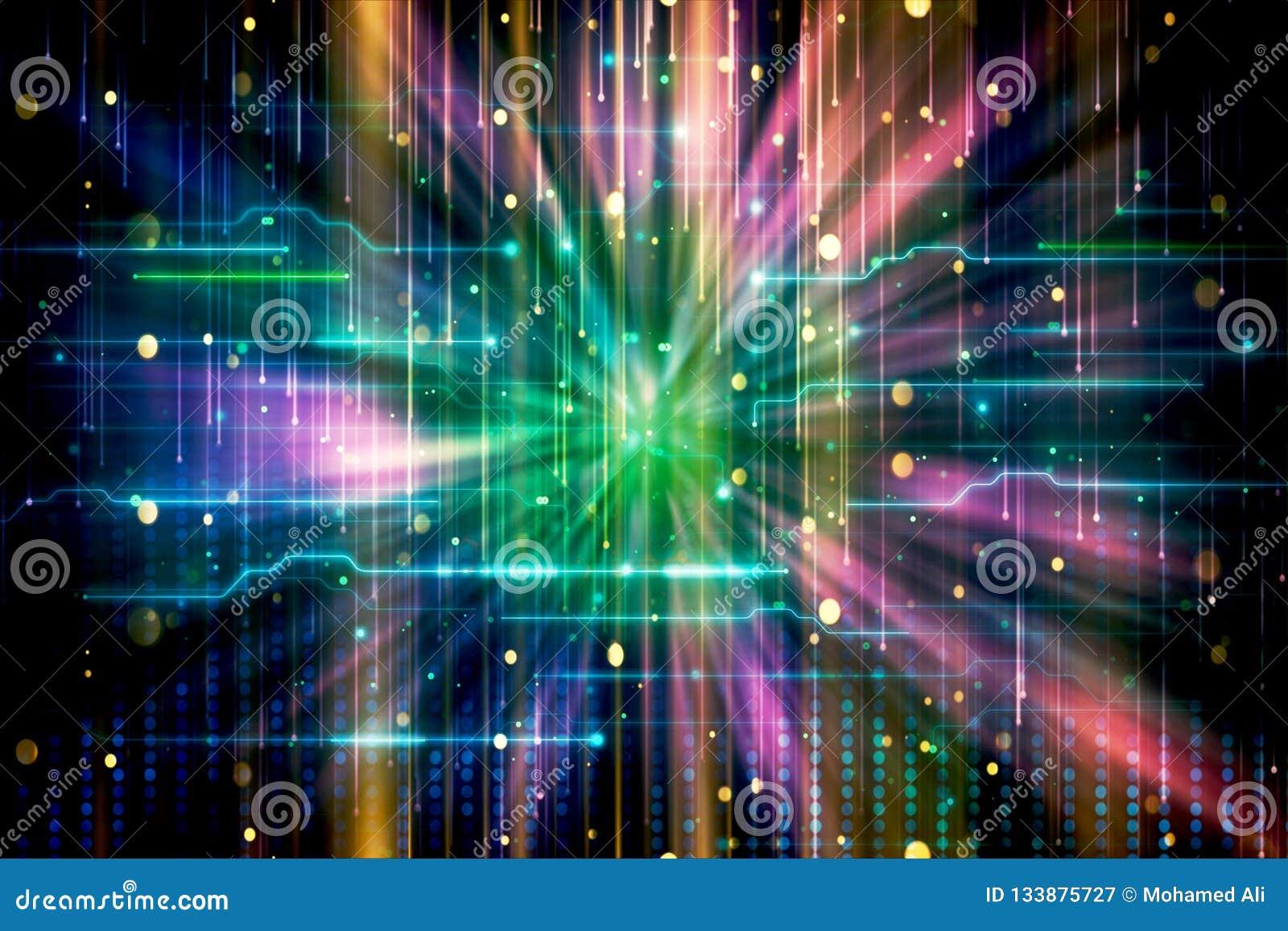 Zusammenfassung künstlerische moderne bunte weiche Wormhole-Grafik sichtbar gemacht in flüssigen bunten Lichtstrahlen