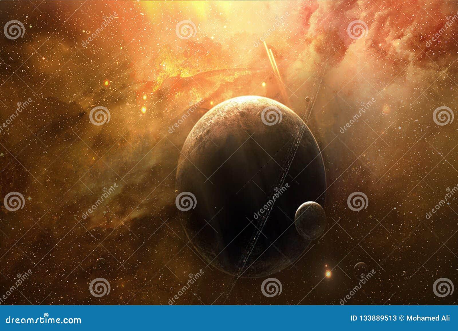 Zusammenfassungs-künstlerischer träumerischer Planet mit ihm ist Mond in einem träumerischen Galaxie-Hintergrund