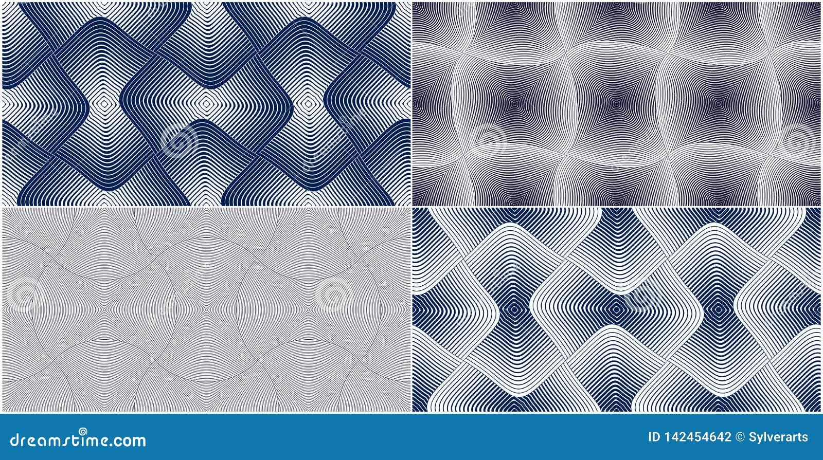 Zusammenfassungslinien geometrische nahtlose Muster eingestellt, Gewebe-Hintergrundsammlung der Vektorwiederholung endlose Gerund