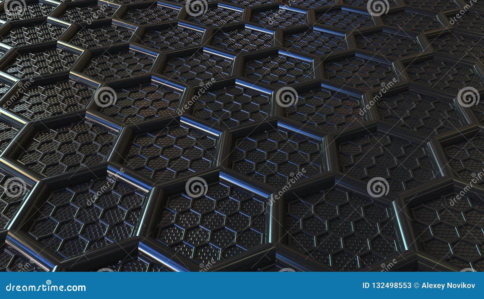 Zusammenfassungsschwarz-Plastikhexagone Moderne Technologie bezog sich Wiedergabe 3D