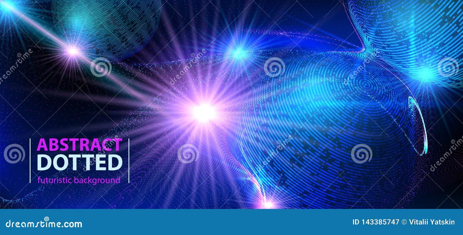 Zusammenfassungstechnologiefuturistischer blauer Neonradiallicht-Explosionseffekt Digital-Elementkreise Halbton