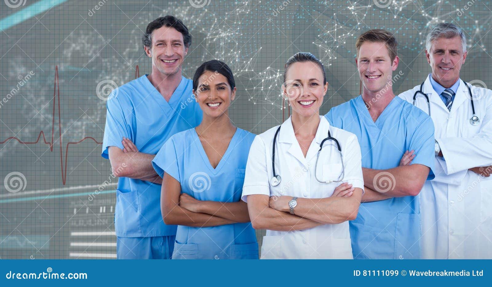 Zusammengesetztes Bild 3D des Porträts überzeugten Doktoren und der Chirurgen
