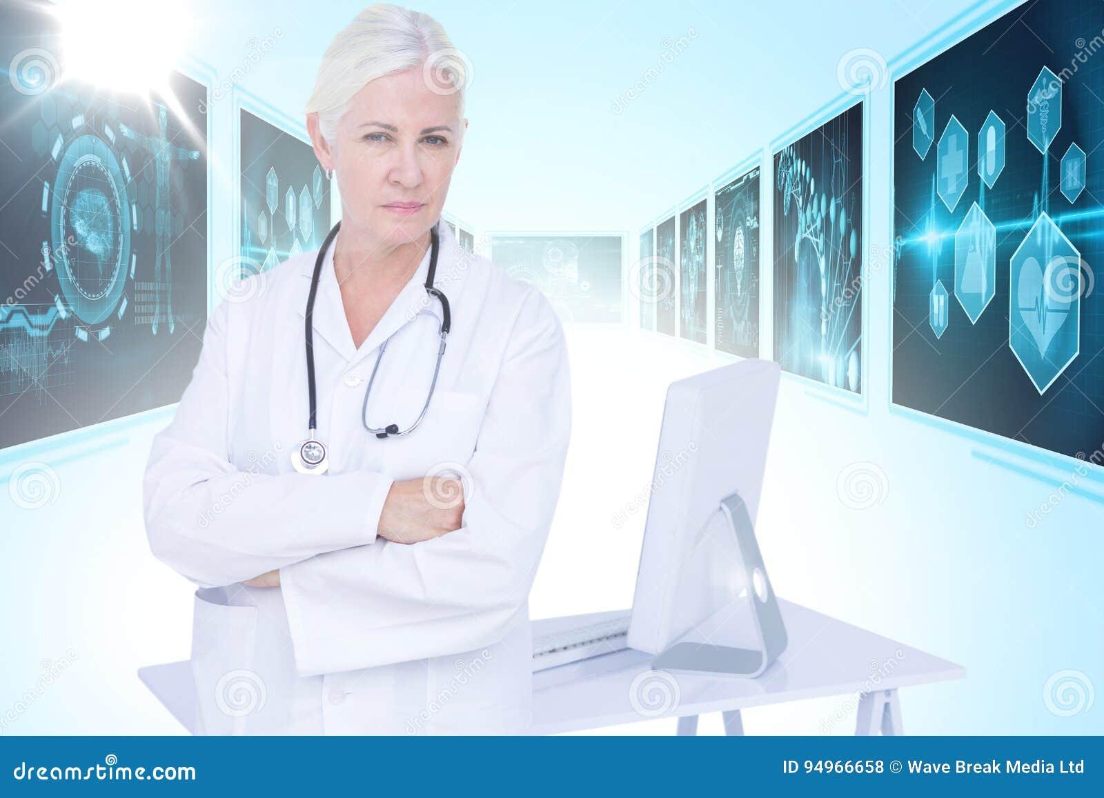 Zusammengesetztes Bild 3d des Porträts des bereitstehenden Schreibtisches der überzeugten Ärztin