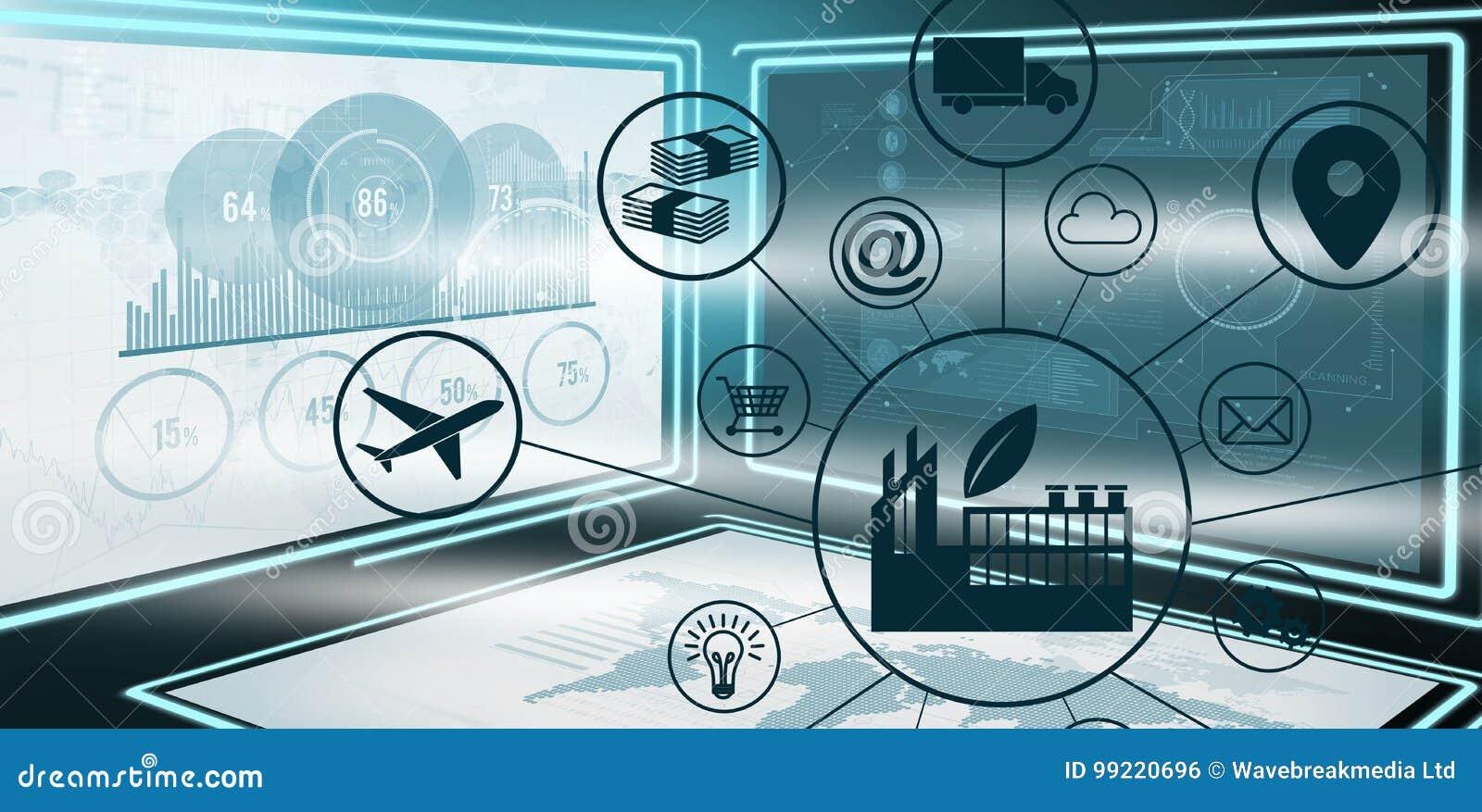 Zusammengesetztes Bild des zusammengesetzten Bildes der Industrie unter verschiedenen Ikonen